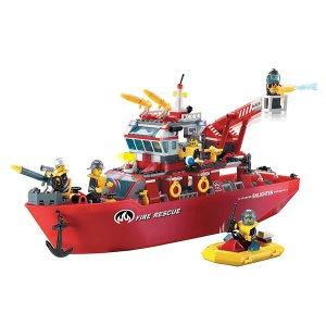 Set de fichas tipo Lego Súper Barco Bombero - MULTI FUNCTION FIRE SHIP