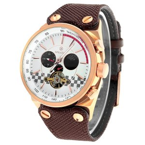 SPEATAK SP90050G Mecánico Relojes Mecánicos de Hombre Marrón y Oro Rosado y Blanco
